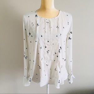 Ann Taylor White Black Print Blouse Size S